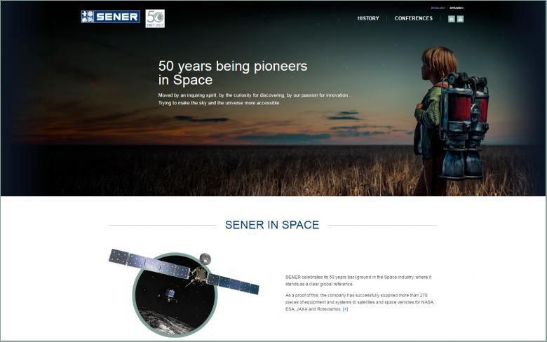 Conmemorative website: www.pioneeringspace.sener