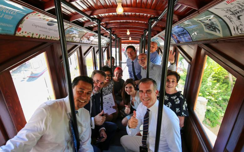 Los Angeles Mayor, Eric Garcetti, announces the reopening of historic Angels Flight Railway, with SENER's participation